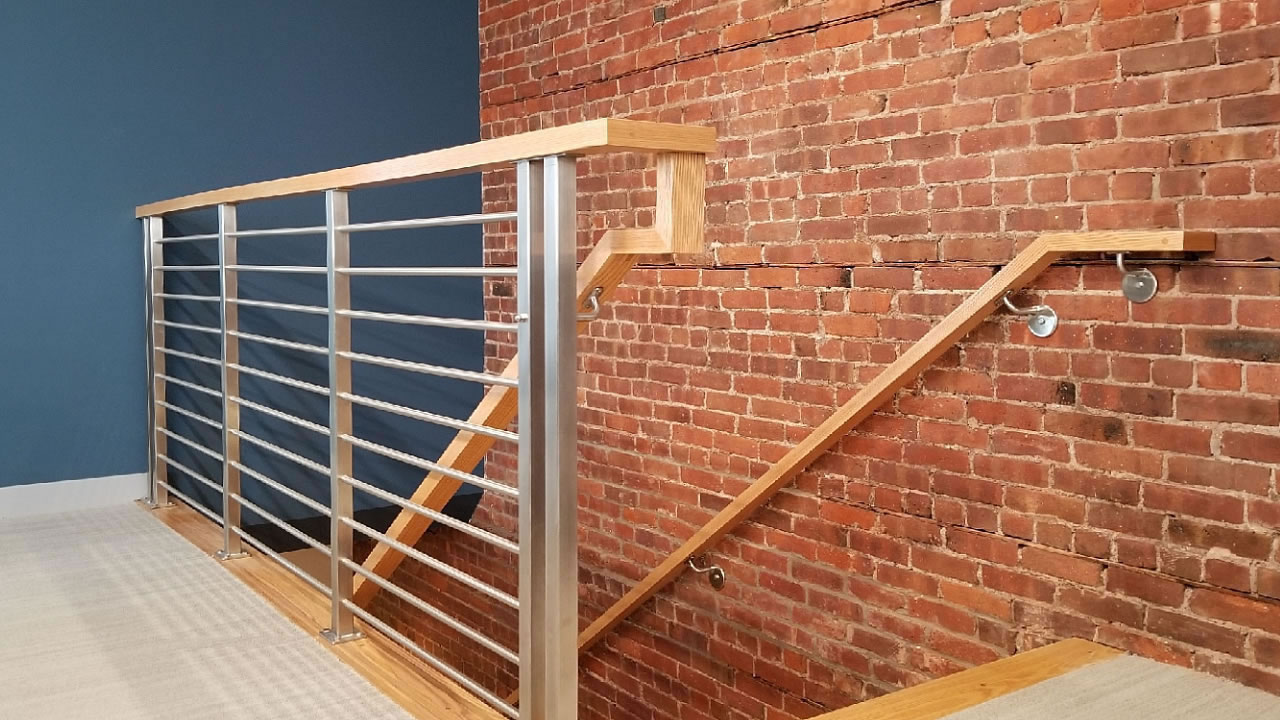 CLEARVIEW® Olympus Stainless Steel Horizontal Bar Railing on Interior Stair Landing - Wall Mounted Wood Handrail