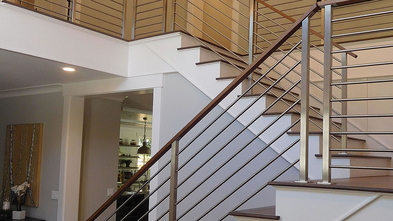 Clearview Olympus Stainless Steel Horizontal Bar Railing On Interior Stair