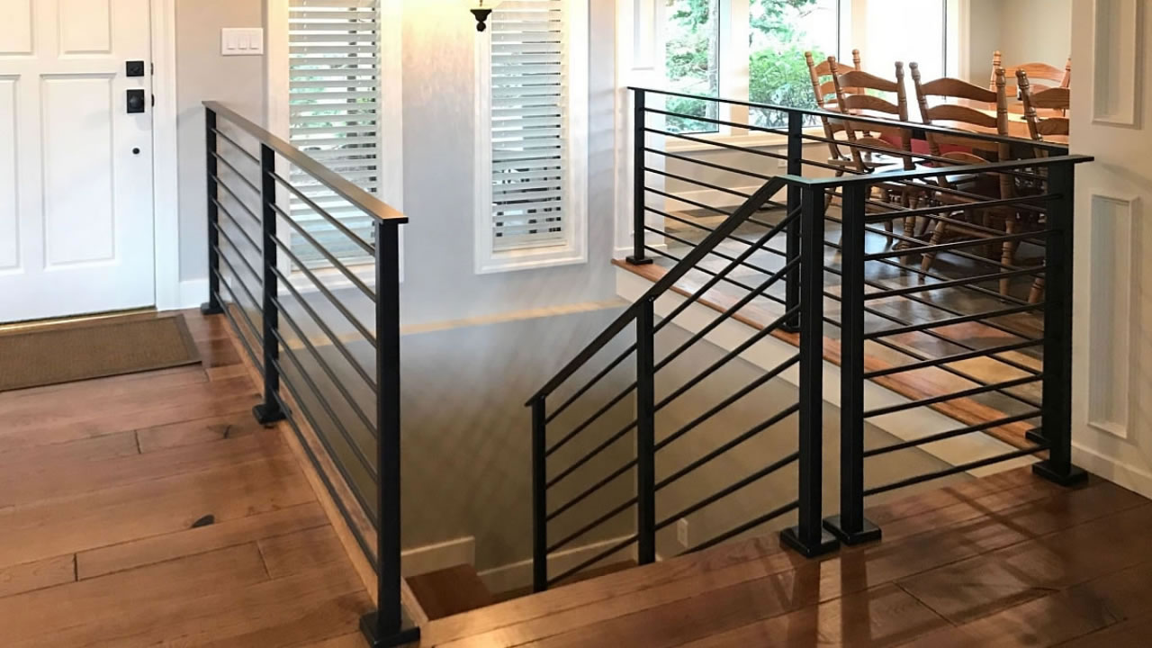 CLEARVIEW® Olympus Stainless Steel Horizontal Bar Railing on Interior Stair Landing - Black Powder Coat Finish