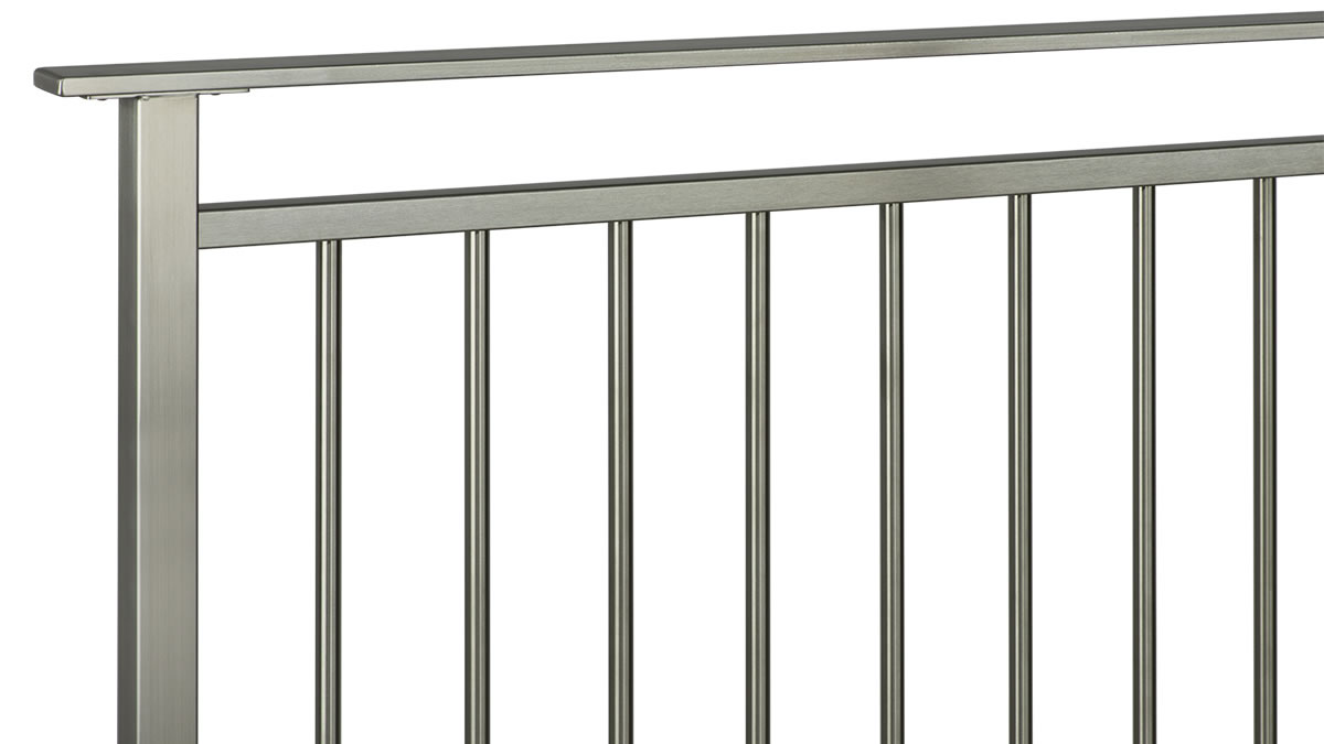 CLEARVIEW® Olympus Brushed Stainless Steel Vertical Bar Railing with Flat Top Rail - ISO VIEW
