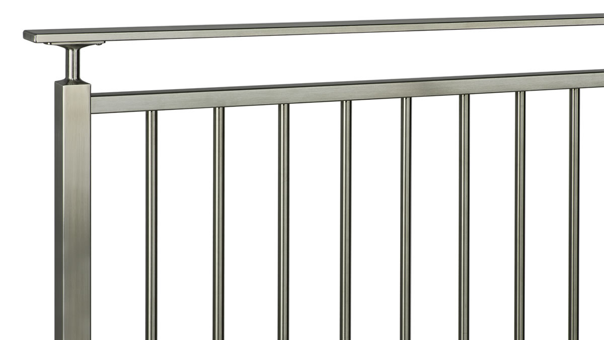 CLEARVIEW® Olympus Brushed Stainless Steel Vertical Bar Railing with Stem Reducer and Flat Top Rail - ISO VIEW