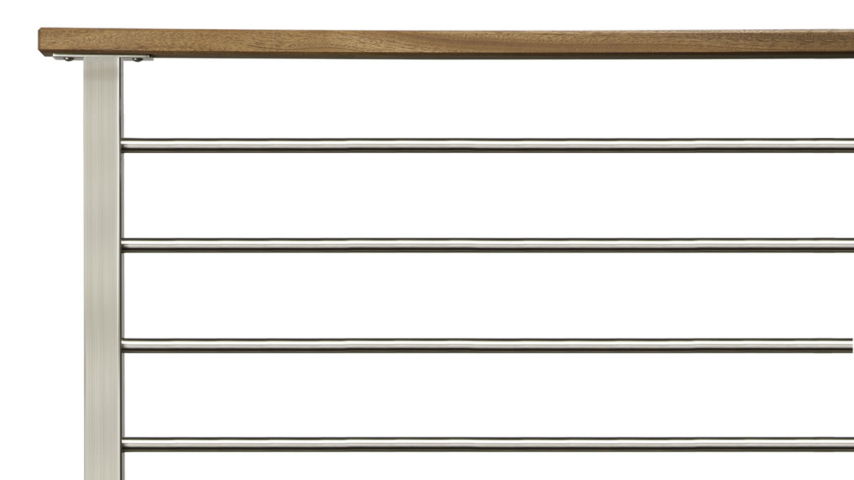 CLEARVIEW® Olympus Brushed Stainless Steel Horizontal Bar Railing with Wood Top Rail - SIDE VIEW