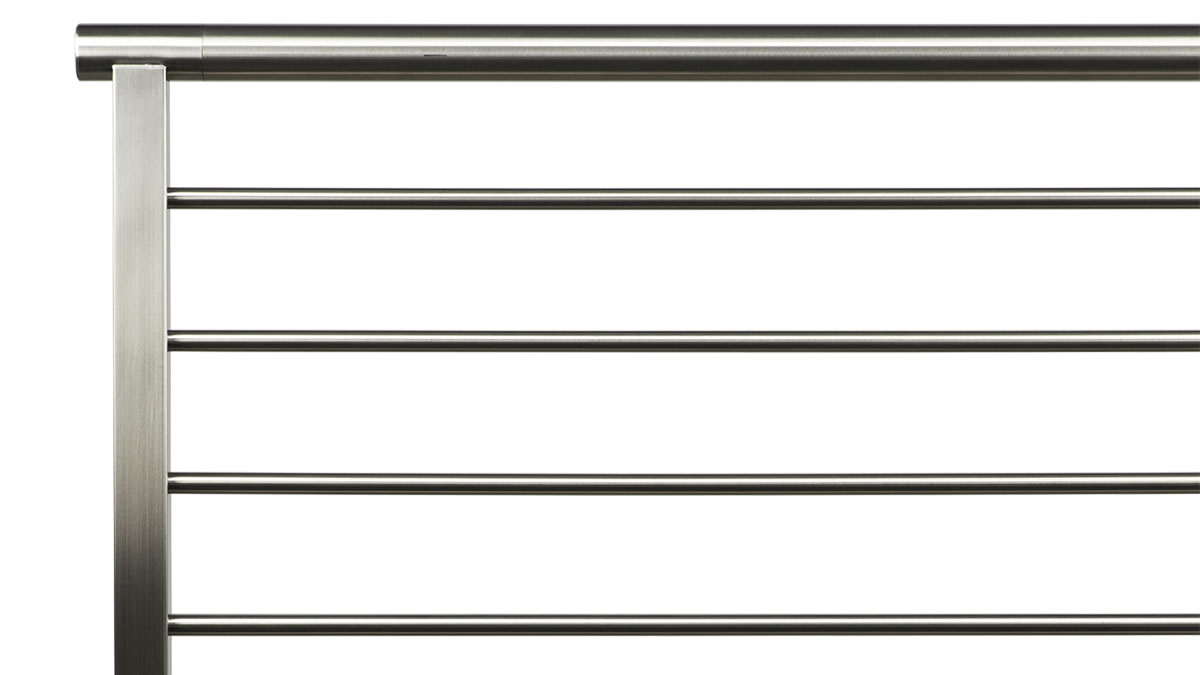 CLEARVIEW® Olympus Brushed Stainless Steel Horizontal Bar Railing with Round Top Rail - SIDE VIEW