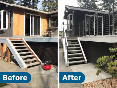 Before and After Deck Cable Railing System