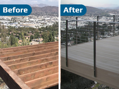 Deck Cable Railing Before and After Photo