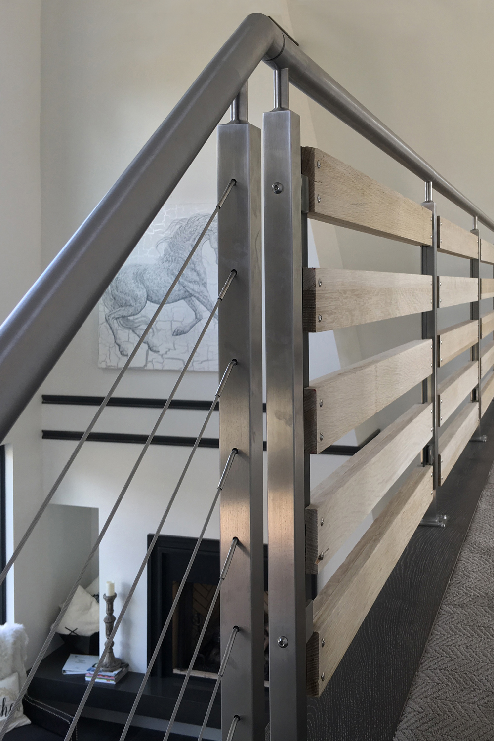 Two types of railing infill in one design project